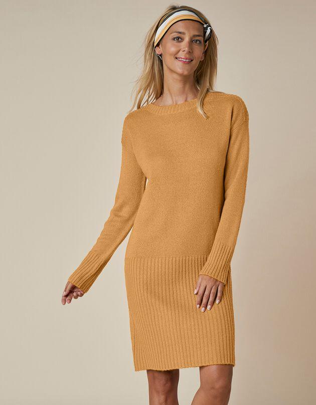 Trui-jurk in ribtricot, saffraangeel, hi-res
