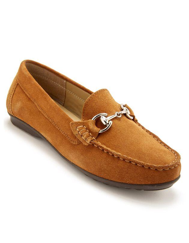 Mocassin largeur confort en cuir velours à mors métallique femme - camel, marron, hi-res