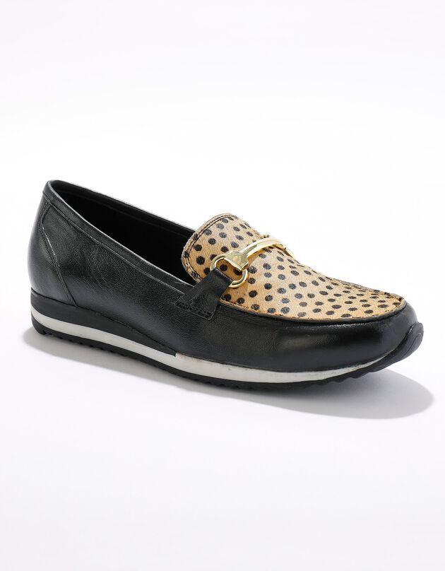 Mocassins compensés cuir souple largeur confort - noir/imprimé léopard, noir, hi-res
