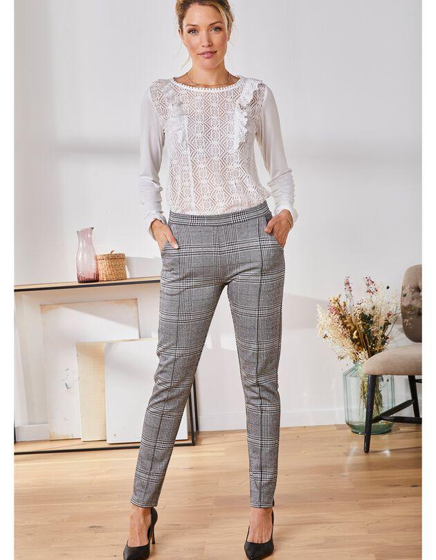 Broek in tricot met ruitjesprint, zwart / grijs, hi-res