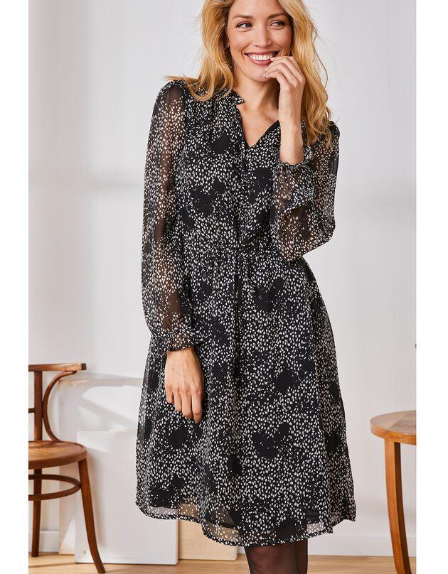 Robe courte volantée en voile crêpe imprimé, noir / écru, hi-res