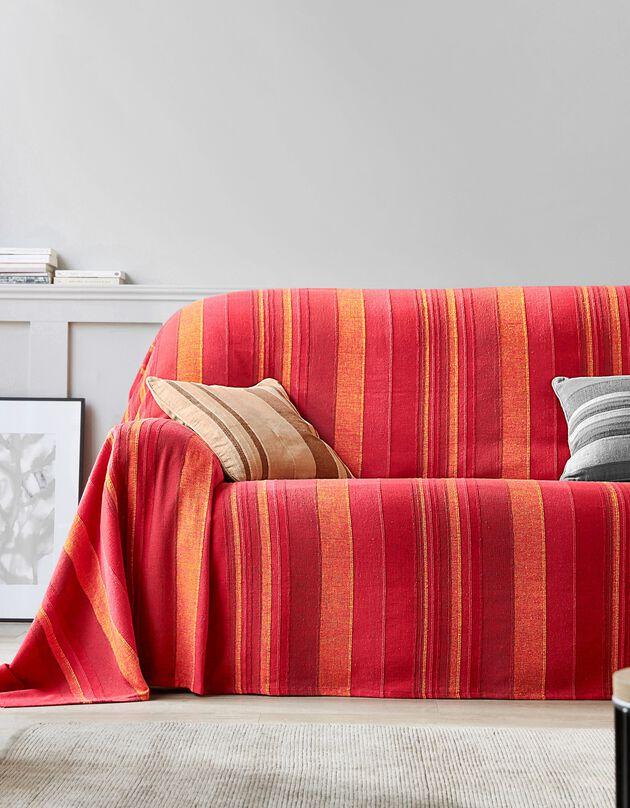 Plaid jeté multicolore coton tissage artisanal, rouge, hi-res