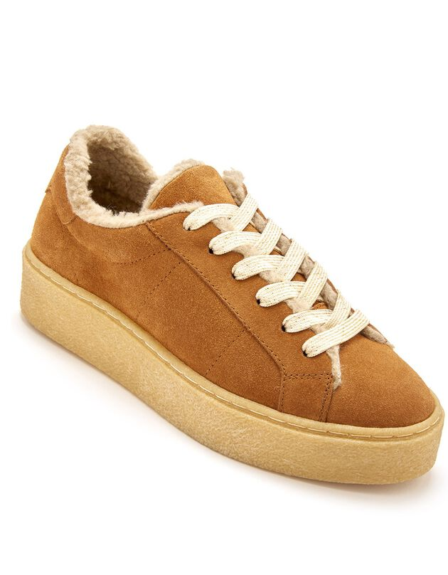 Gevoerde sneakers in splitleer met comfortbreedte, dames - bruin, bruin, hi-res