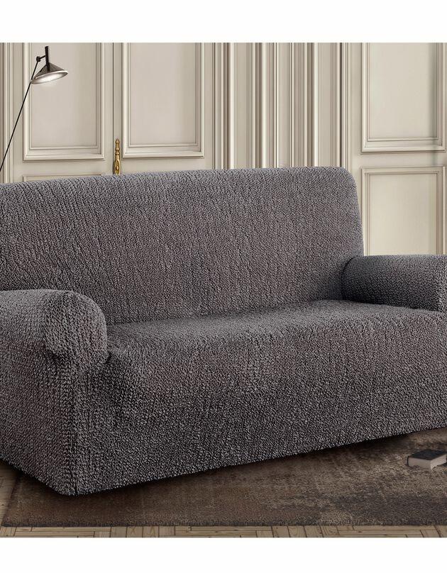 Housse bi-extensible imprimée gaufrée pour fauteuil et canapé, gris, hi-res