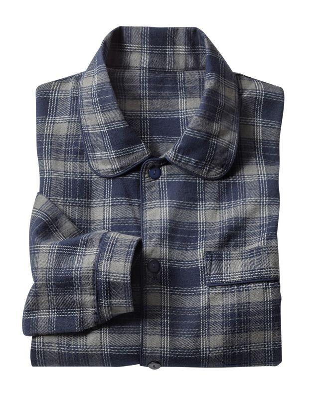 Pyjama carreaux en pilou, gris, hi-res