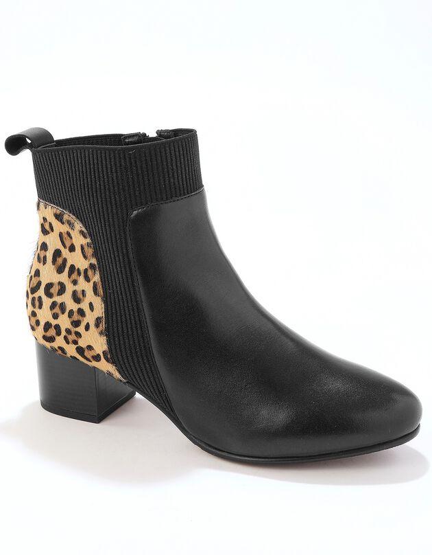 Leren boots met elastieken, sierspijkertjes en hak - luipaardprint, zwart / beige, hi-res