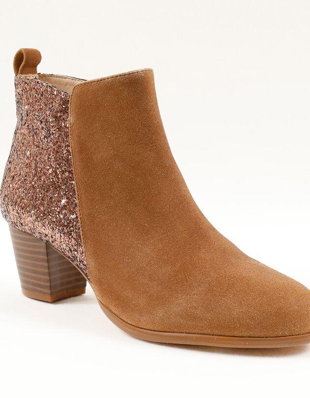 Low-boots in splitleer met glitters, karamel, hi-res