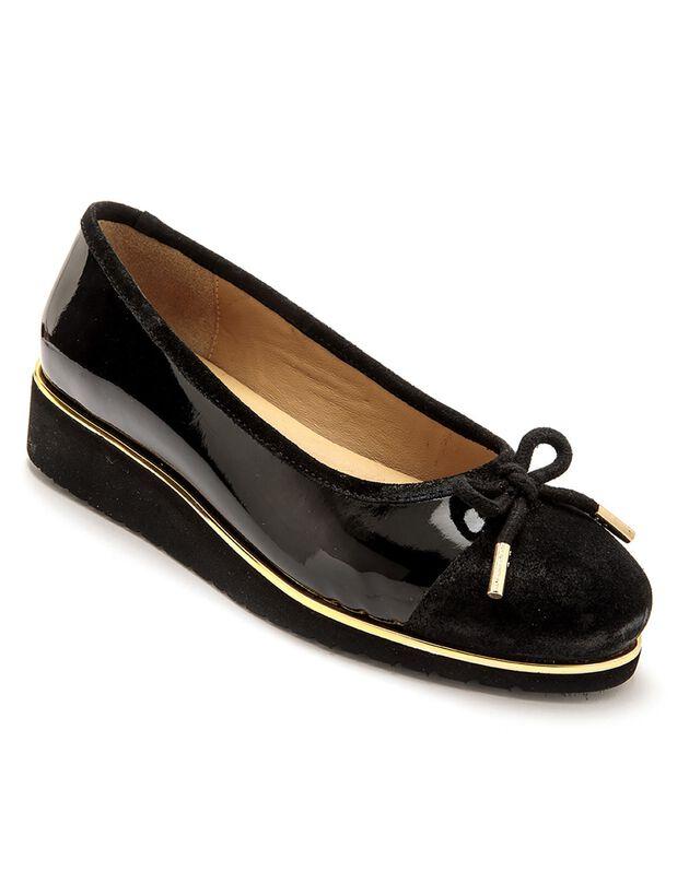 Ballerine compensée largeur confort en cuir verni - noir, noir, hi-res