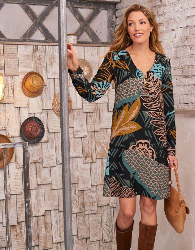 Bedrukte jurk met rits, kaki / turkoois, hi-res