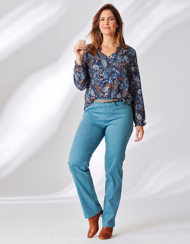 Pantalon élastiqué ventre plat uni, bleu grisé, hi-res