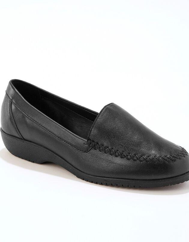 Comfortabel brede mocassins in soepel leer - effen, zwart, hi-res