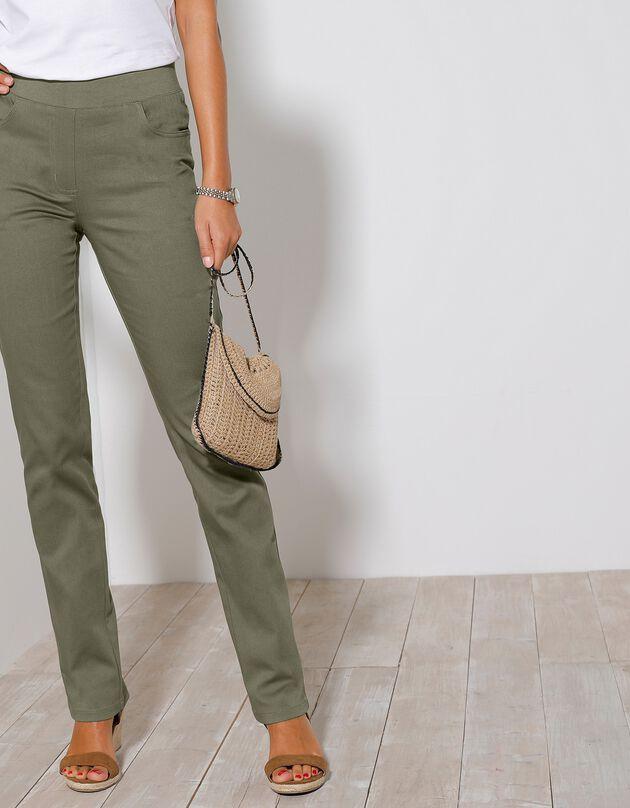 Rechte broek met elastische taille, kaki, hi-res