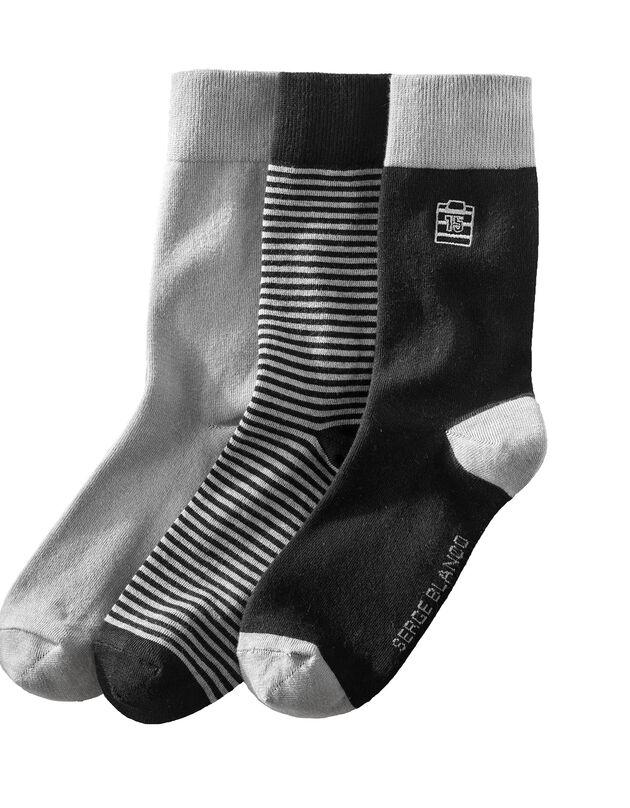 Chaussettes, lot de 3 paires, noir, hi-res