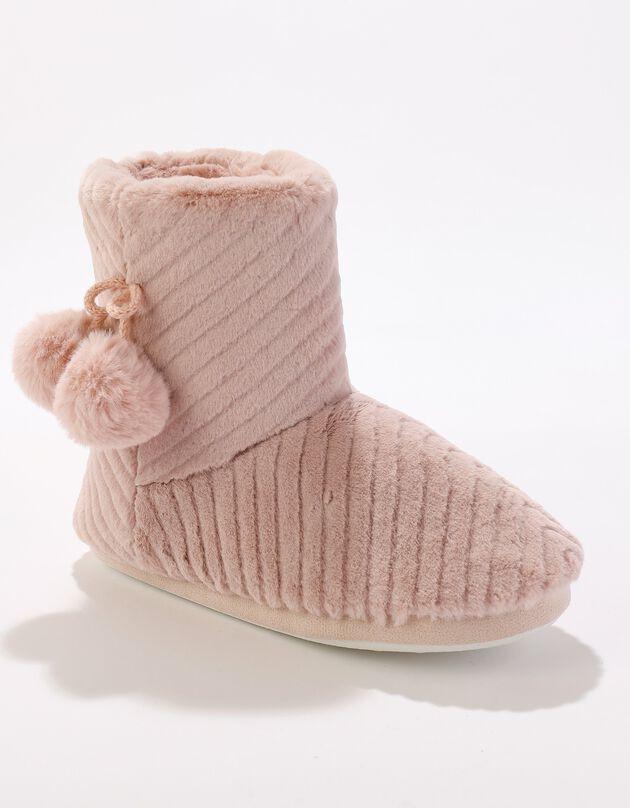 Gevoerde pantoffellaarsjes met pompons, dames, roze, hi-res