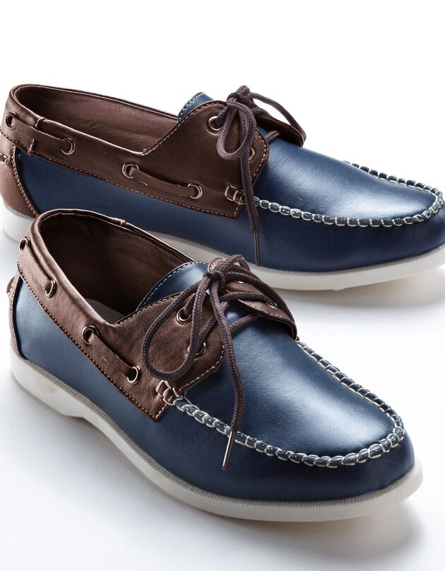 Chaussures bateau bicolores, marine / marron, hi-res