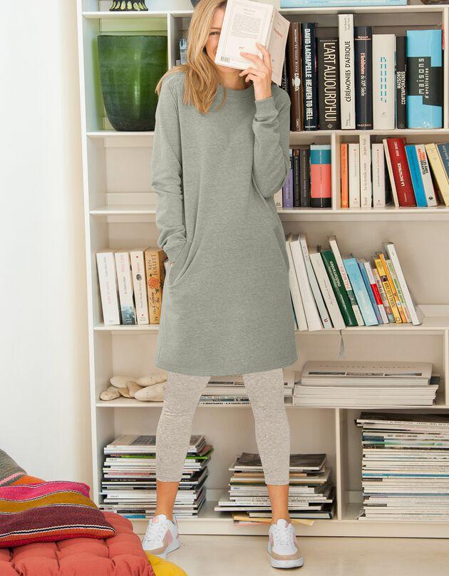 Robe sweat-shirt molleton, vert olive, hi-res