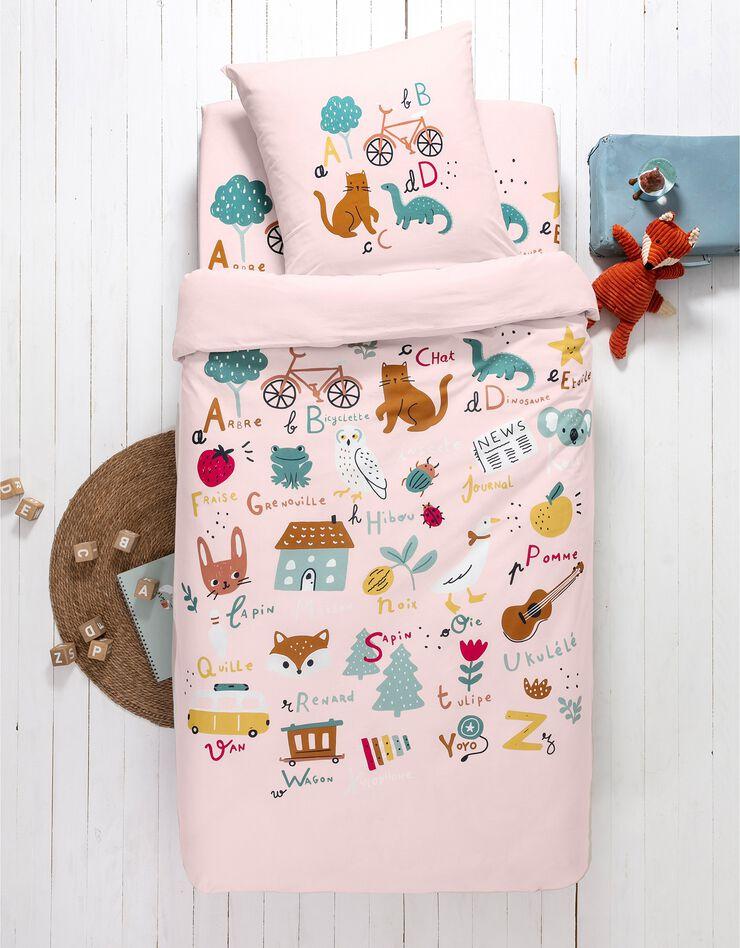 Bedlinnen voor kinderen met 'Alfabet' motieven, in katoen, roze, hi-res image number 1