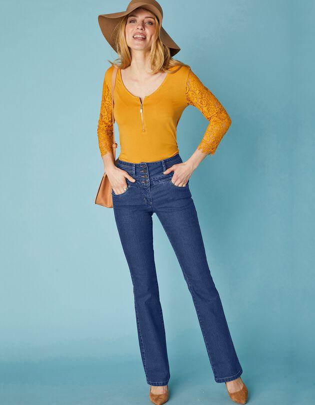 Jean coupe bootcut taille haute stretch - entrej. 78 cm, brut, hi-res