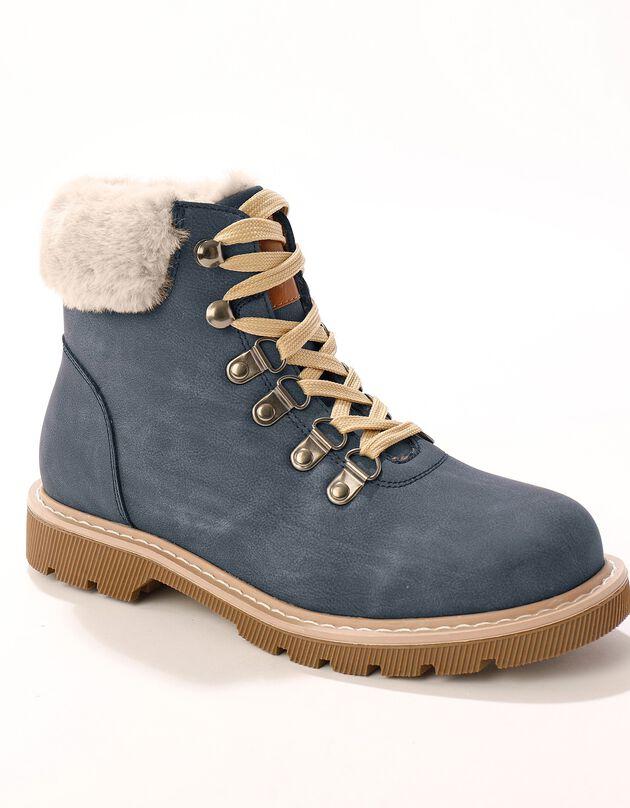 Boots col fourré esprit montagne - marine, marine, hi-res