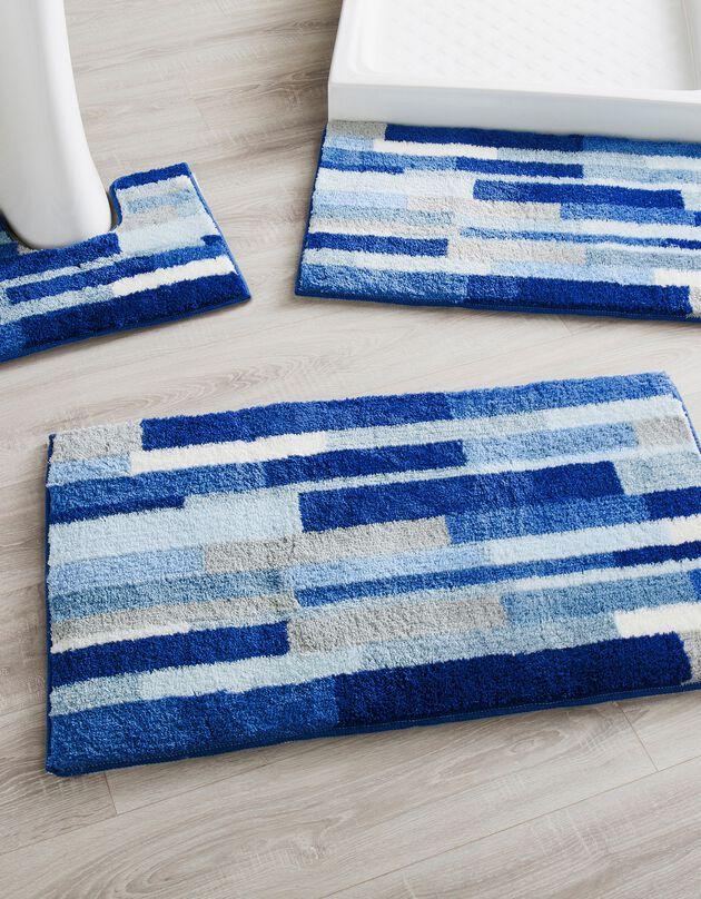 Tapis de bain imitation parquet, bleu, hi-res