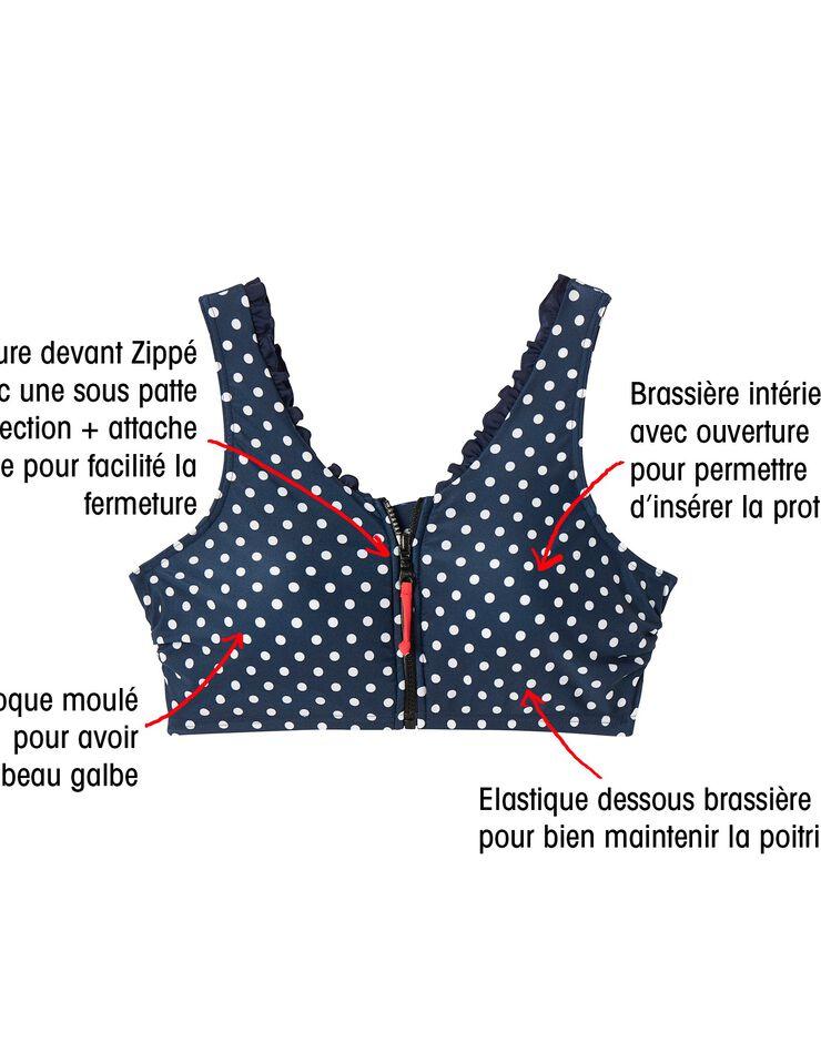 """Haut de maillot bain zippé post-opératoire """"Pois"""", marine, hi-res image number 6"""