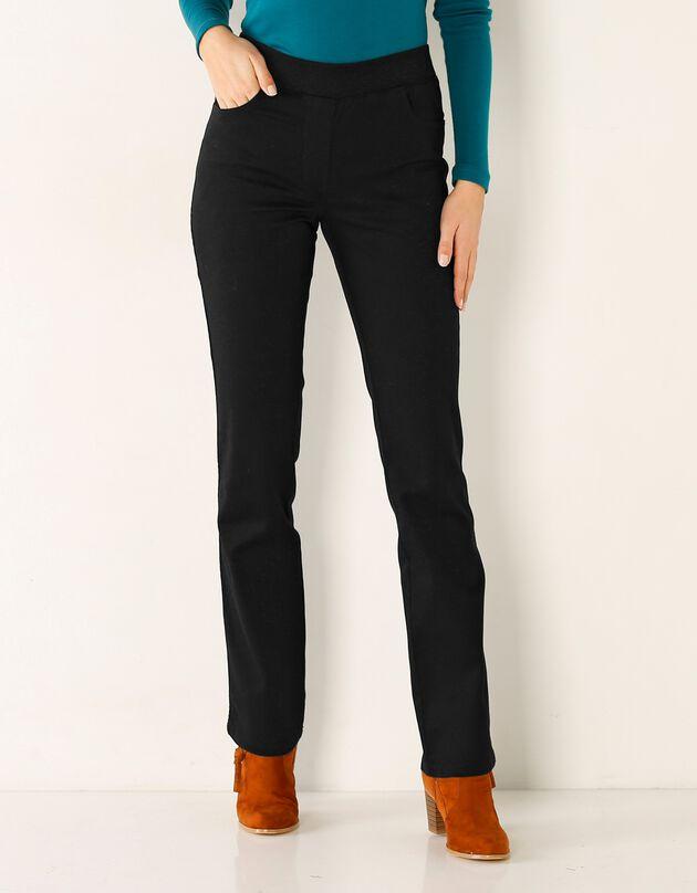 Pantalon droit ultra confort taille élastiquée, noir, hi-res