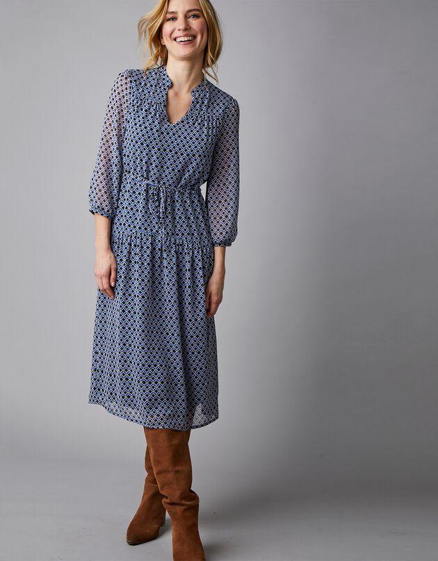 Robe-housse en voile chiffon imprimé géométrique, noir / bleu, hi-res
