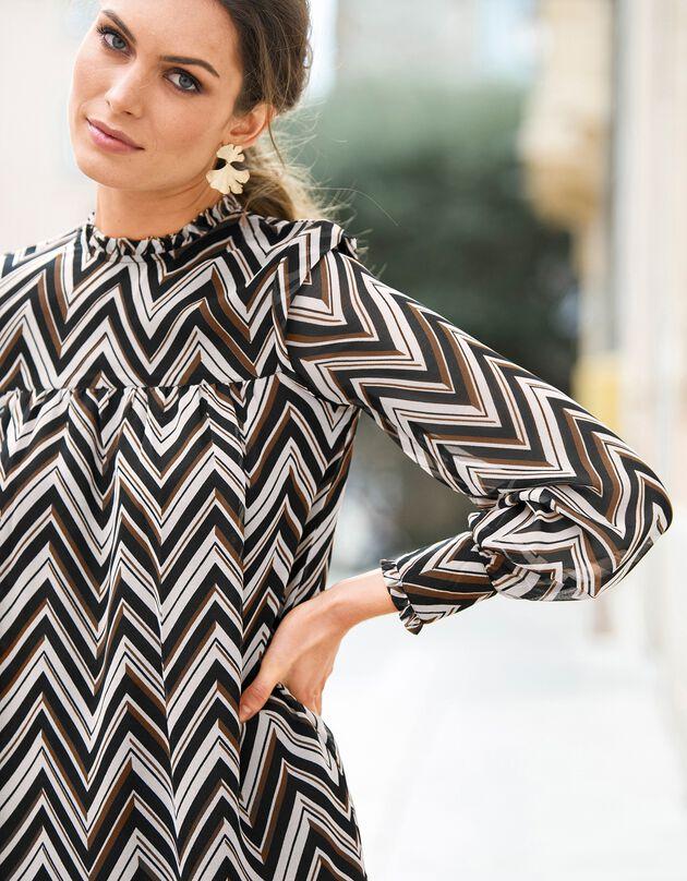 Bedrukte jurk in hoesmodel met opstaande hals, zwart / karamel, hi-res