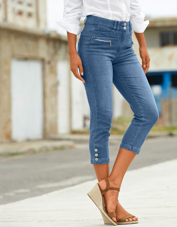 3/4-jeansbroek met knoopjes aan de pijpen, bleached, hi-res image number 0