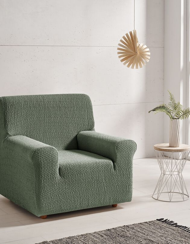 Housse canapé fauteuil bi-extensible Abril, vert, hi-res