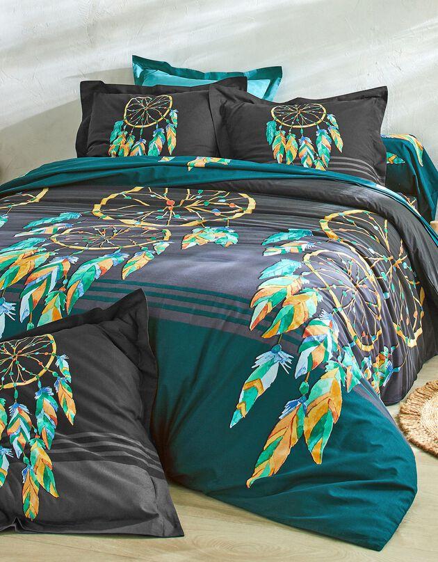 Linge de lit Plumes en coton imprimé attrape-rêves, noir, hi-res