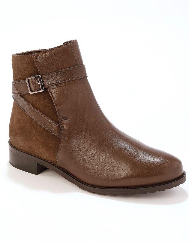 Leren boots in bikerstijl - bruin, bruin, hi-res