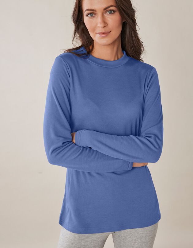 Tee-shirt thermique col montant - manches longues, bleu jean, hi-res