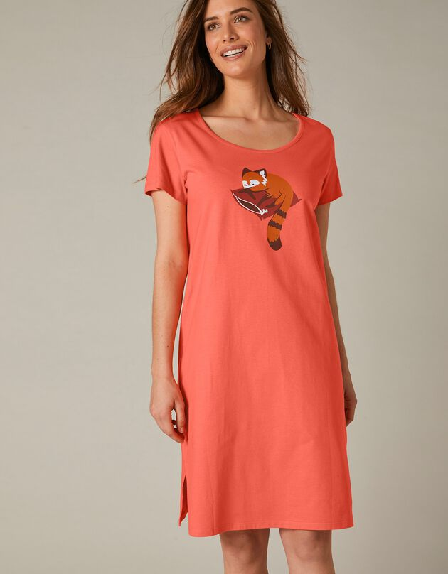 """Kort nachthemd met korte mouwen en """"rode panda"""" motief, koraal, hi-res"""