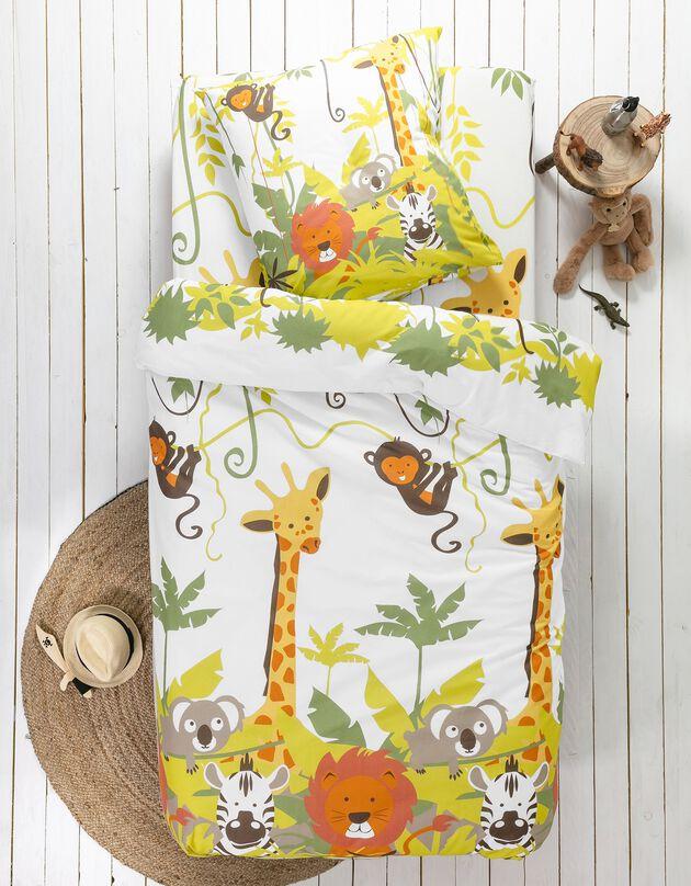 Bedlinnen voor kinderen Jungle, met dierenprint, voor 1 persoon - katoen, beige, hi-res