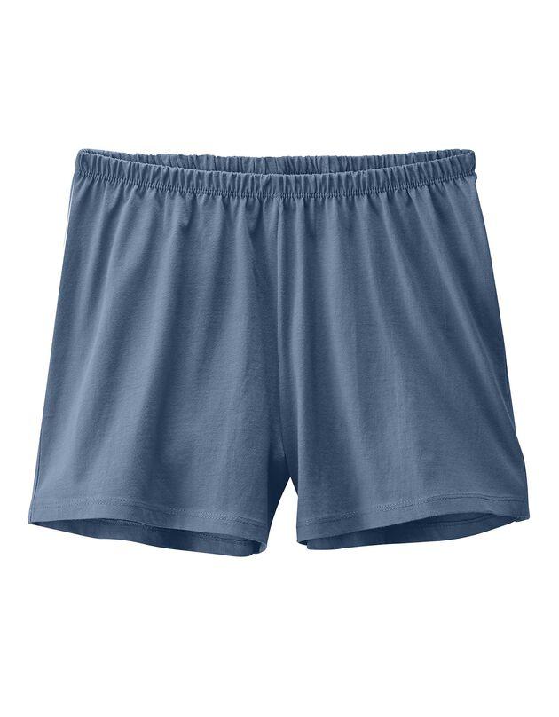 Le short pyjama coton uni, marine, hi-res