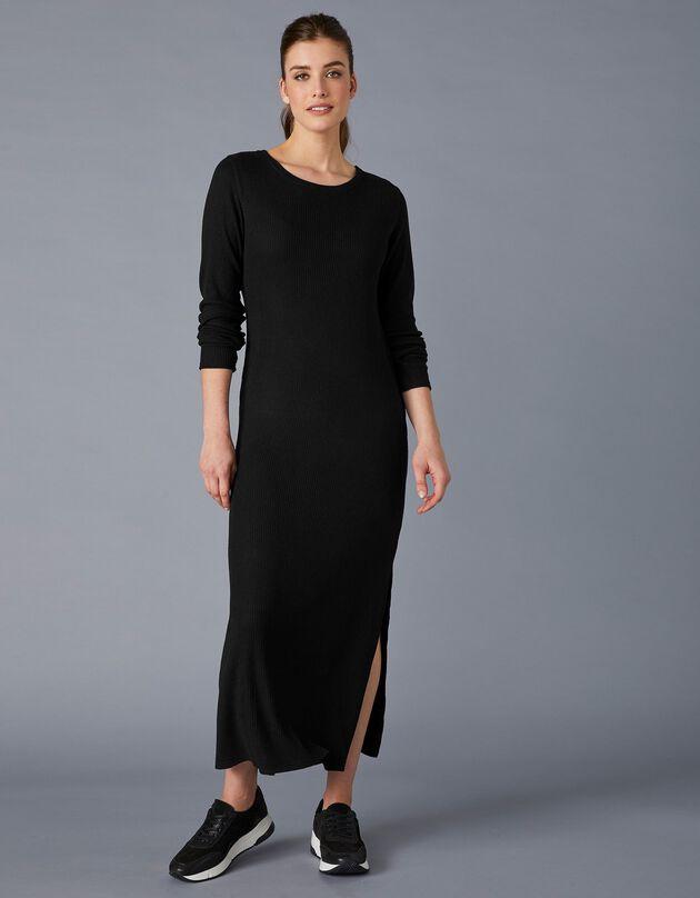 Robe longue coupe droite maille côtelée, noir, hi-res