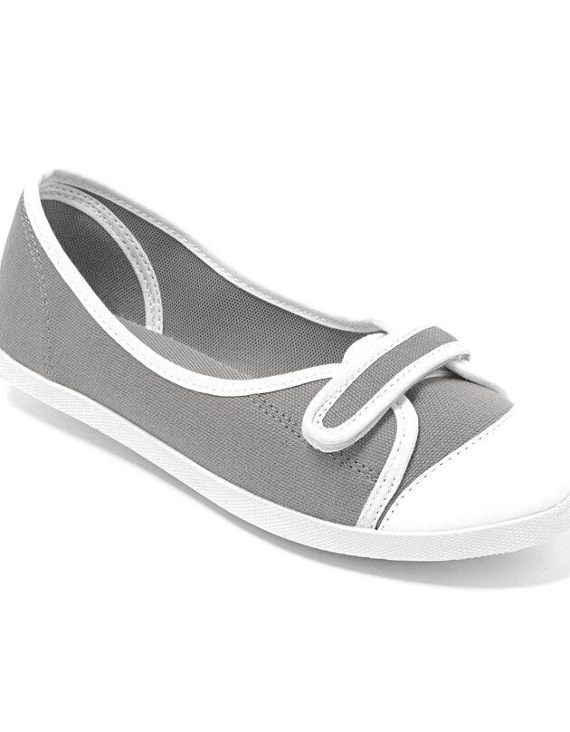 Ballerines toile, gris / blanc, hi-res