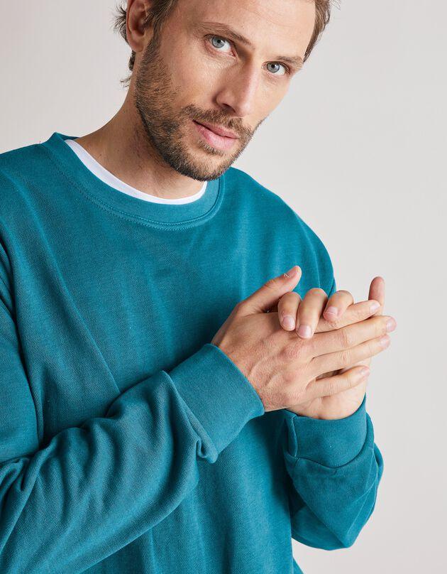 Sweat molleton col rond, bleu canard, hi-res