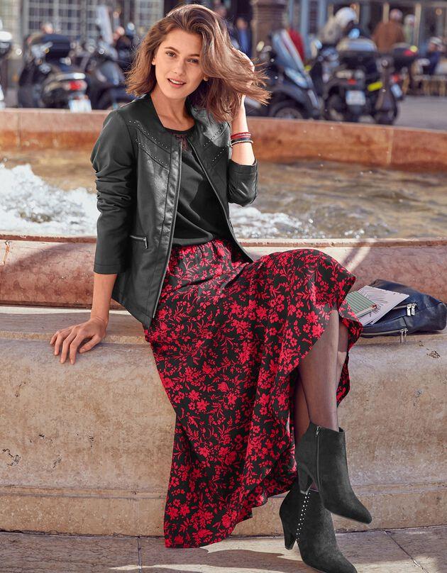 Jupe longue imprimée taille élastiquée, noir / rouge, hi-res