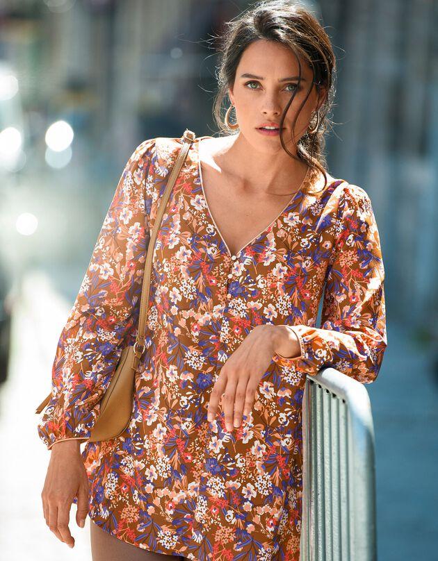 Bedrukte, uitlopende bloes met lange mouwen, karamel, hi-res