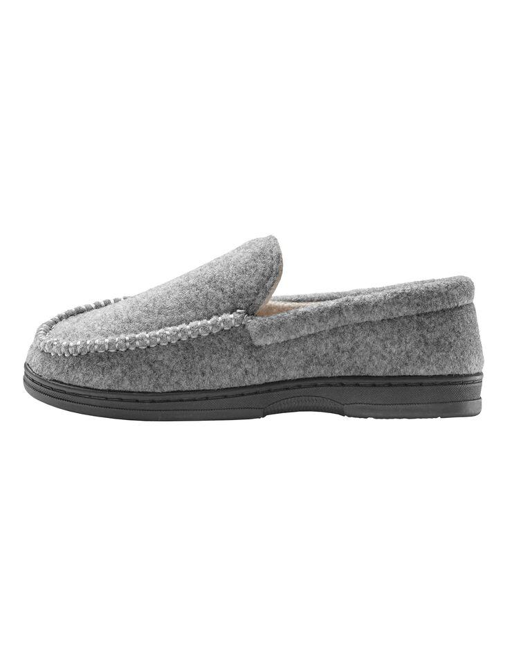 Pantoufles homme feutrine, gris, hi-res image number 1