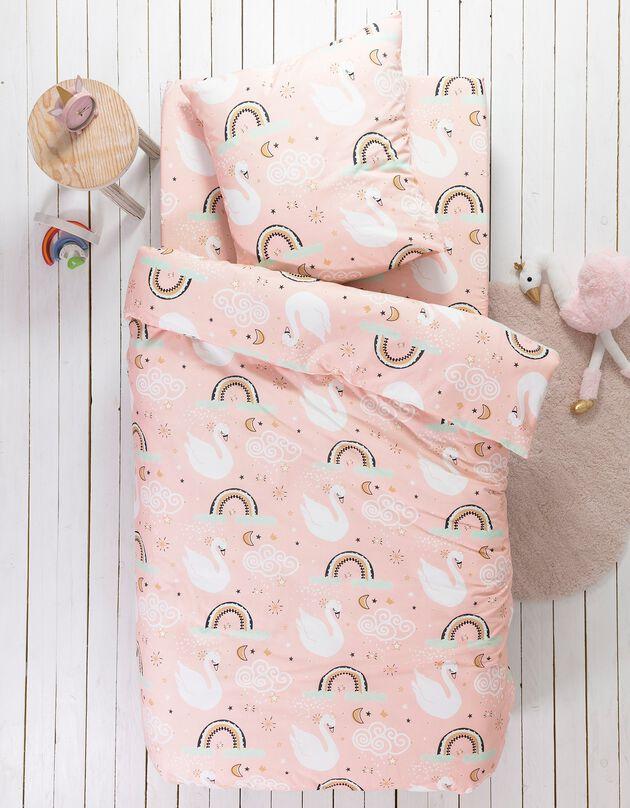 Bedrukt bedlinnen voor kinderen Cygnes, 1 persoon - katoen, roze, hi-res