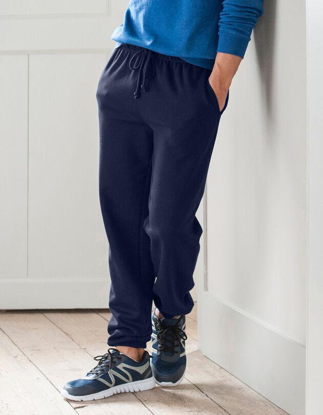 Pantalon jogging molleton bas élastiqué, marine, hi-res