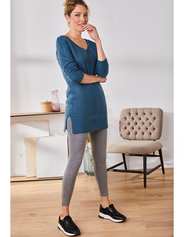 Legging zippé en bas de jambe, gris chiné, hi-res
