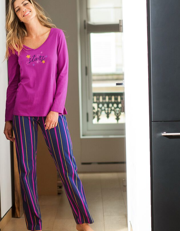 Pyjamabroek met strepenprint Estrella - katoen, marine, hi-res