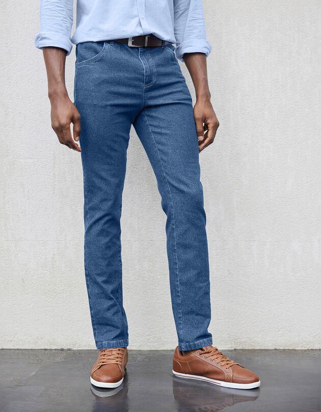 Jeans met elastische taille - binnenpijpl. 82 cm, stone, hi-res