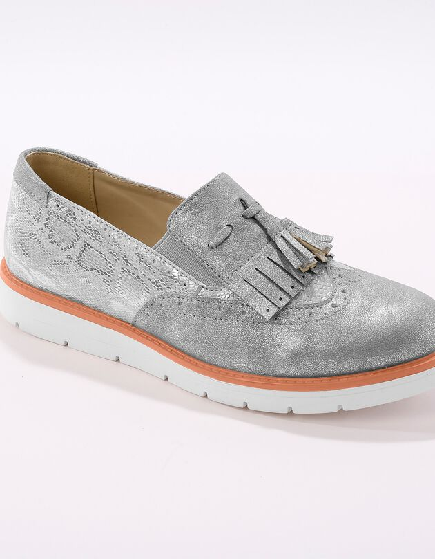 Slip-ons met sleehak en franjes - python grijs/zilverkleur, grijs / zilverkleurig, hi-res