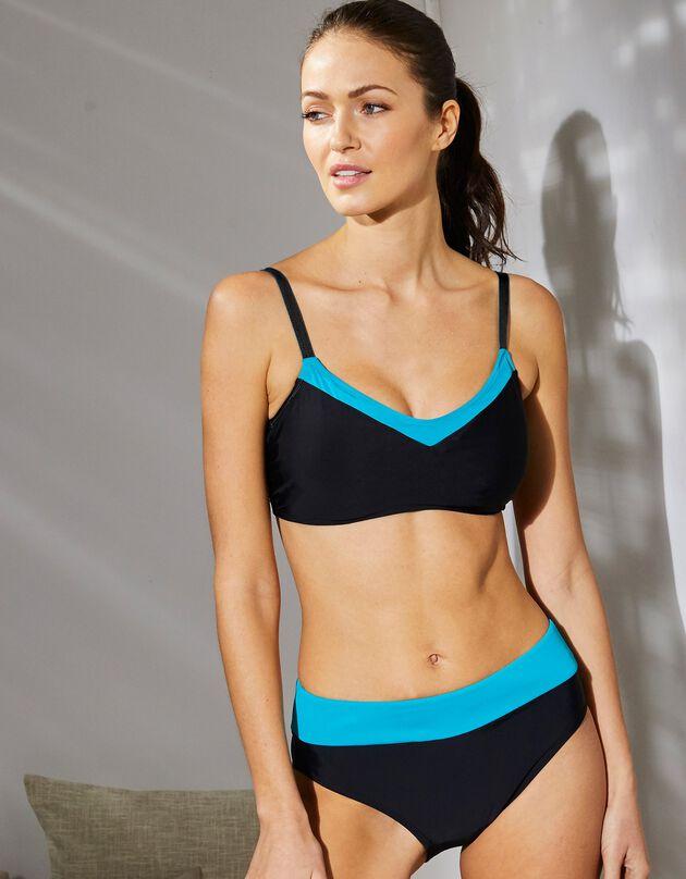 Haut de maillot de bain Gyaros - sans armatures, noir / turquoise, hi-res