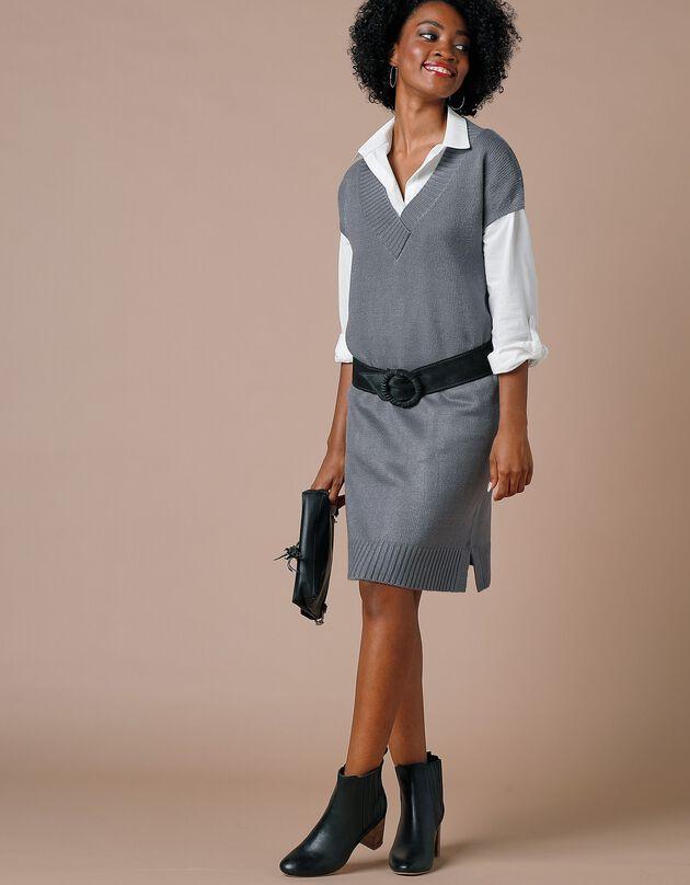 Trui-jurk met mouwkapjes en V-hals - kasjmiertouch, chiné grijs, hi-res